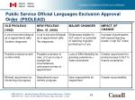 public service official languages exclusion approval order psoleao