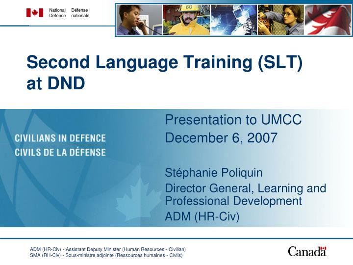 Second language training slt at dnd