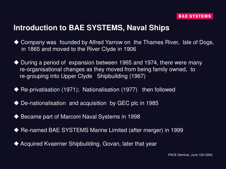 Introduction to BAE SYSTEMS, Naval Ships