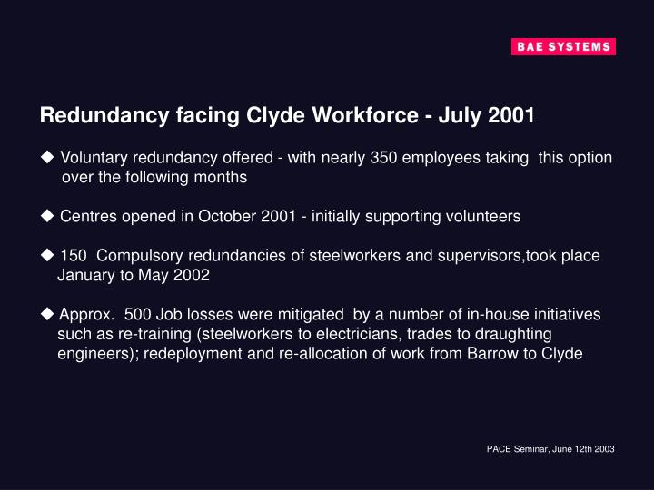 Redundancy facing Clyde Workforce - July 2001