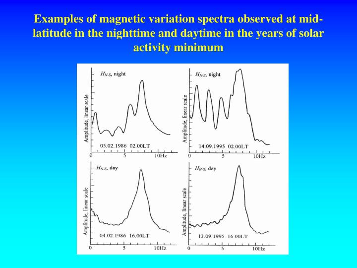 Examples of magnetic variation spectra observed at mid-latitude in the nighttime and daytime in the years of solar activity minimum