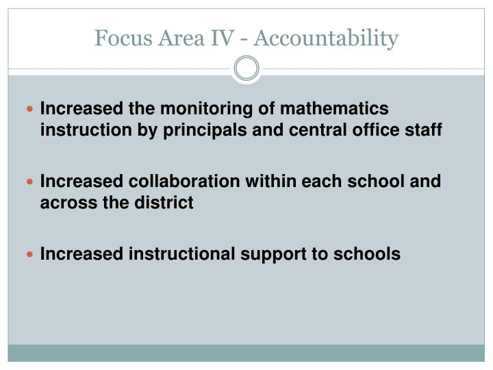 Focus Area IV - Accountability