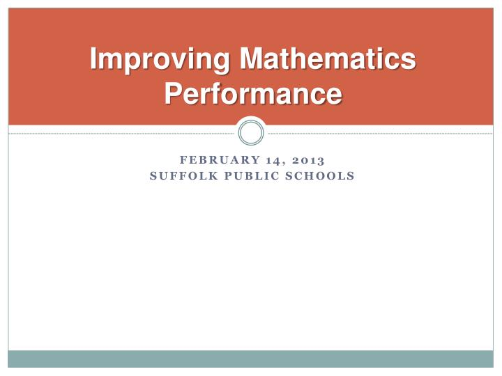 Improving mathematics performance