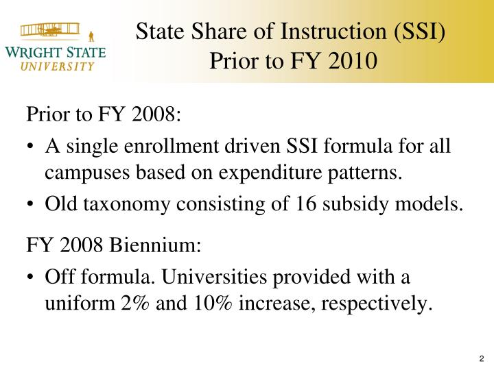 State share of instruction ssi prior to fy 2010