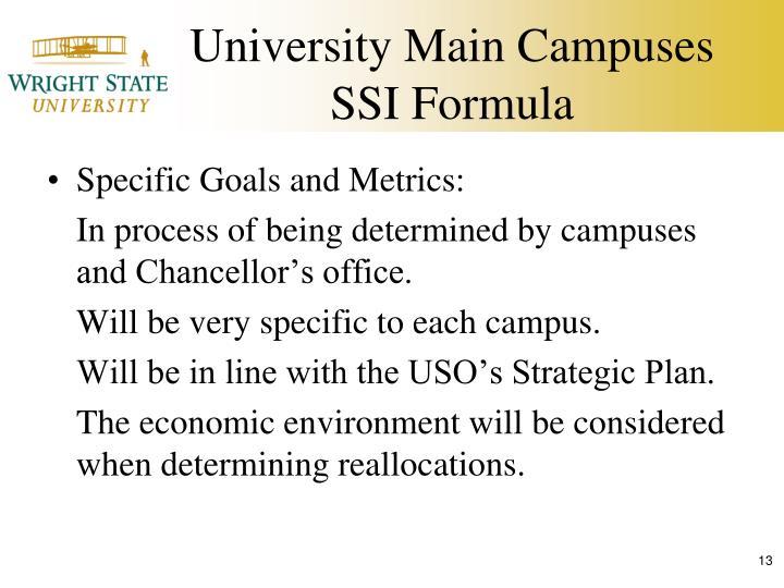 University Main Campuses SSI Formula