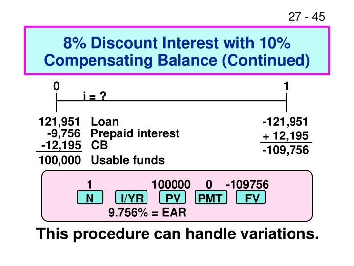 8% Discount Interest with 10% Compensating Balance (Continued)