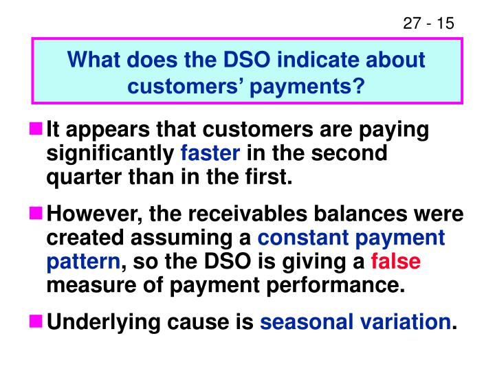 What does the DSO indicate about customers' payments?