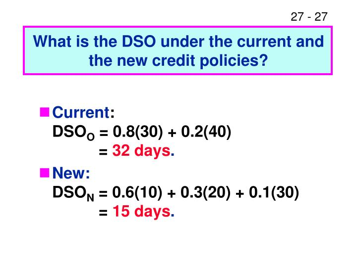 What is the DSO under the current and the new credit policies?