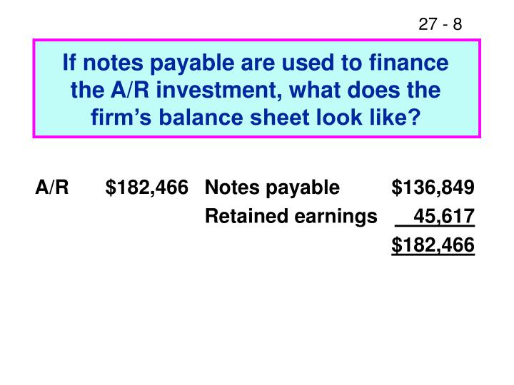 If notes payable are used to finance the A/R investment, what does the firm's balance sheet look like?