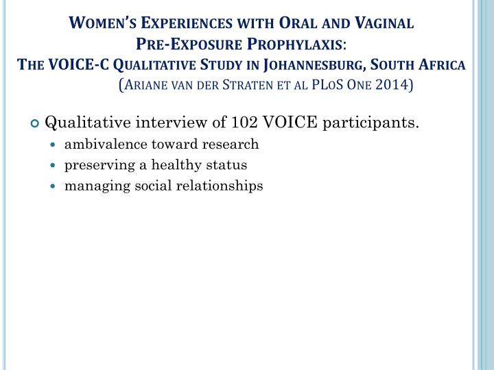 Women's Experiences with Oral and Vaginal