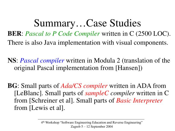 Summary…Case Studies