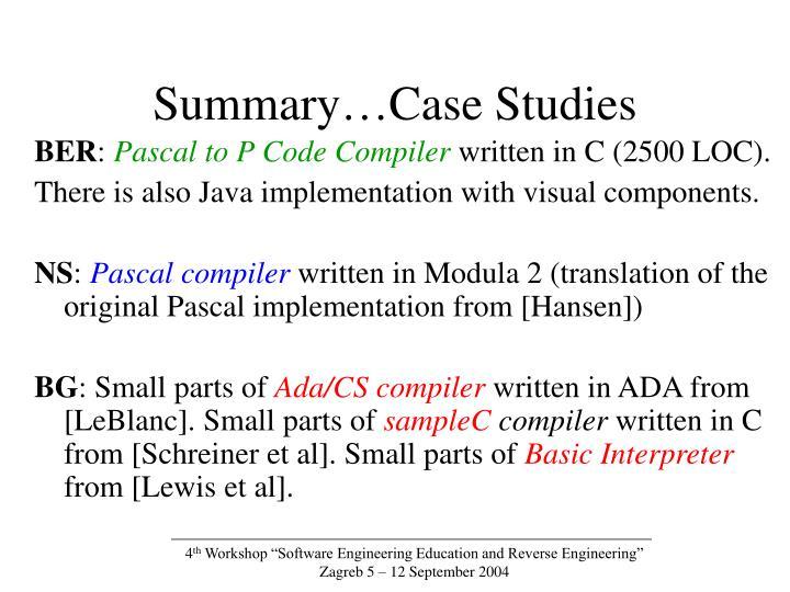 Summary…Case Studies