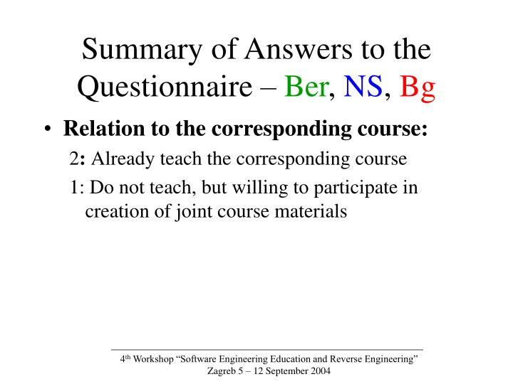 Summary of answers to the questionnaire ber ns bg
