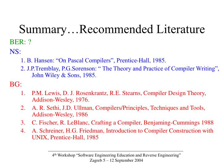 Summary…Recommended Literature