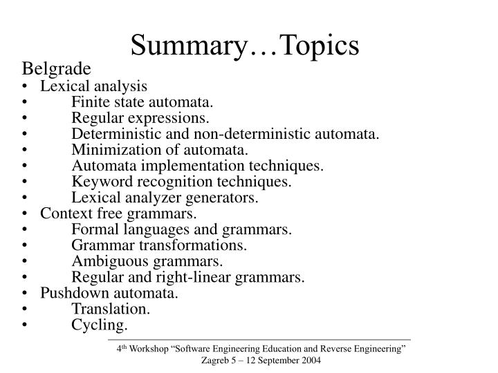 Summary…Topics
