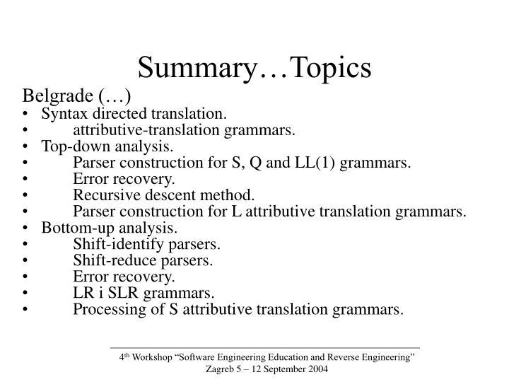 Summary…Topics