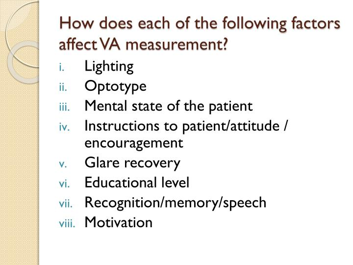 How does each of the following factors affect VA measurement?