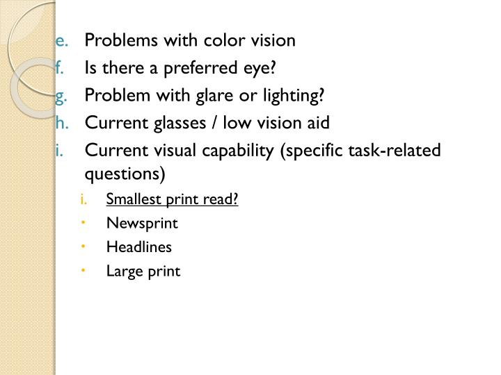 Problems with color vision