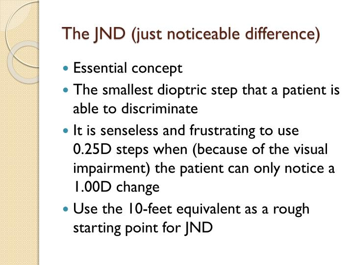 The JND (just noticeable difference)