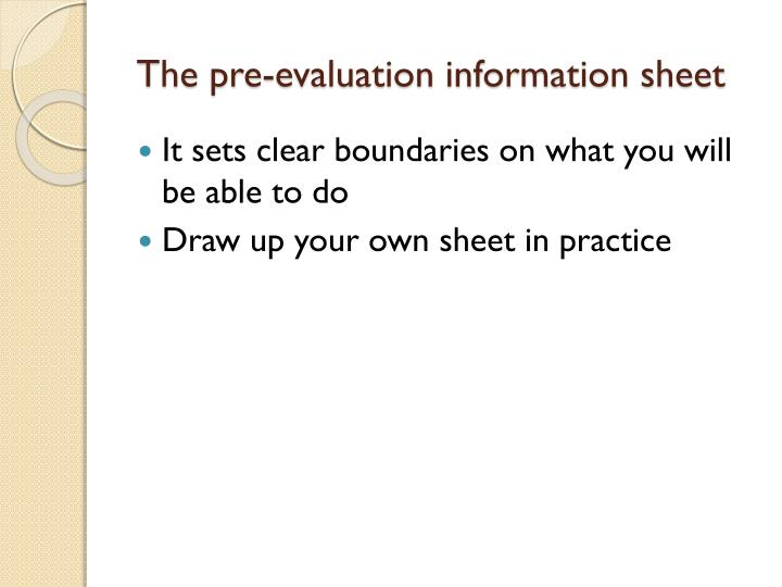 The pre-evaluation information sheet