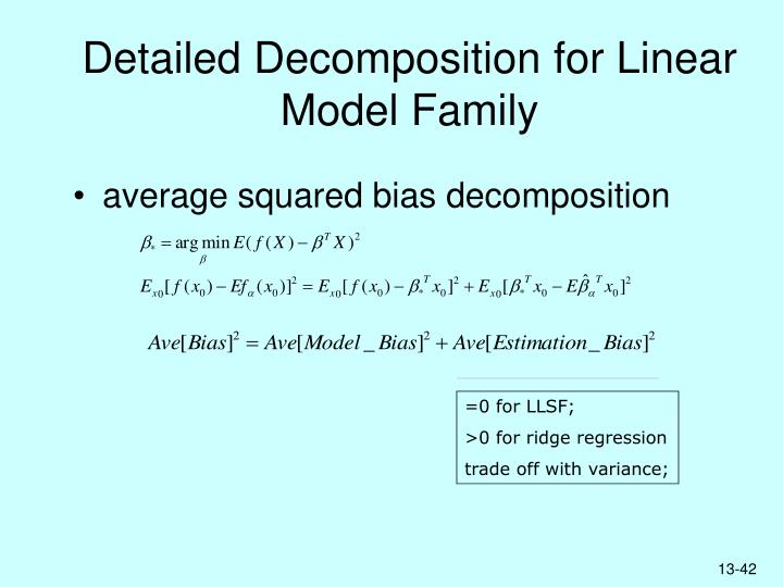 Detailed Decomposition for Linear Model Family