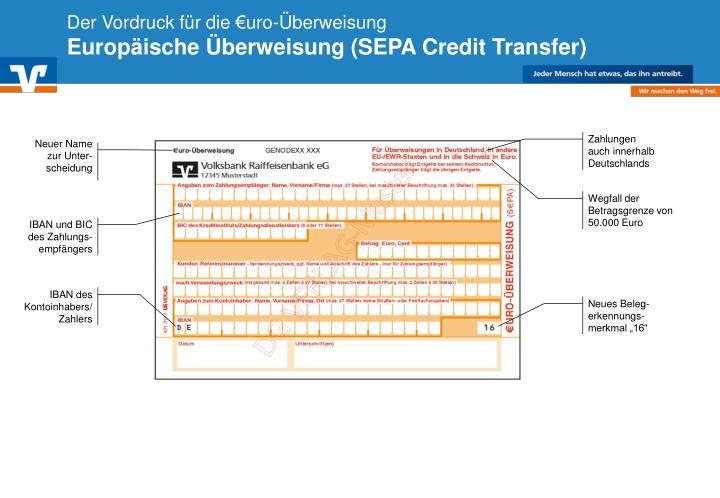 Der Vordruck für die €uro-Überweisung