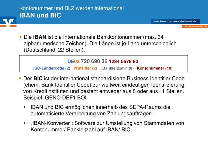 Kontonummer und BLZ werden international