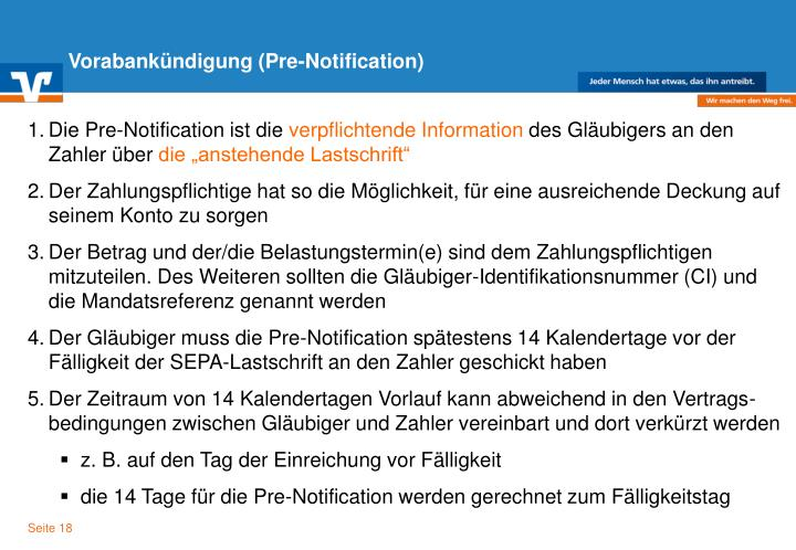 Vorabankündigung (Pre-Notification)