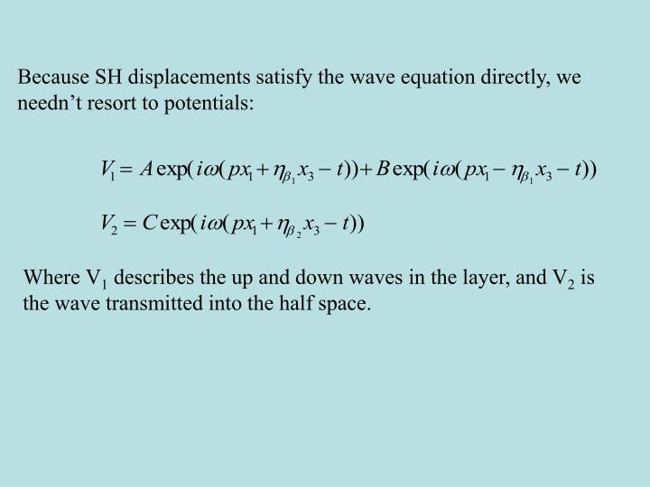 Because SH displacements satisfy the wave equation directly, we needn't resort to potentials: