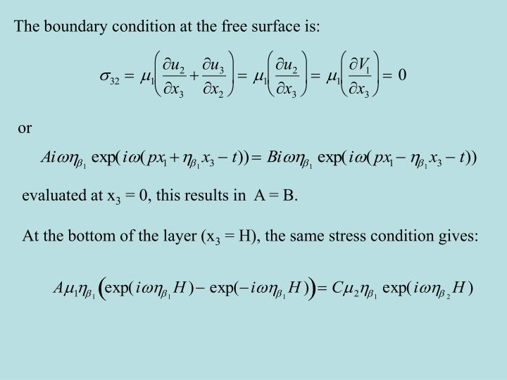 The boundary condition at the free surface is: