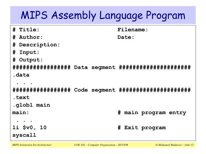 MIPS Assembly Language Program
