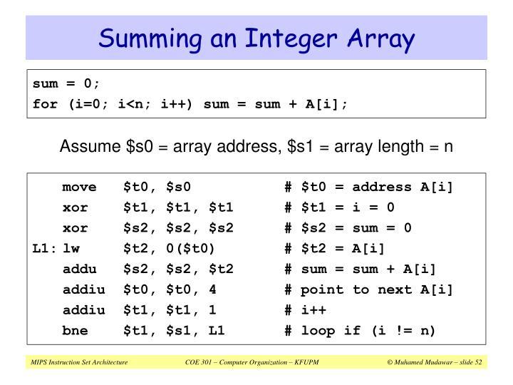 Summing an Integer Array