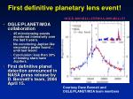 first definitive planetary lens event