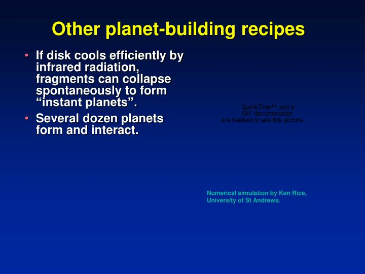 Other planet-building recipes