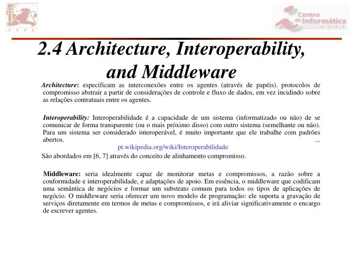 2.4 Architecture, Interoperability, and Middleware