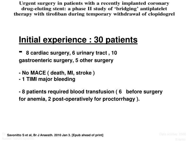 Initial experience : 30 patients