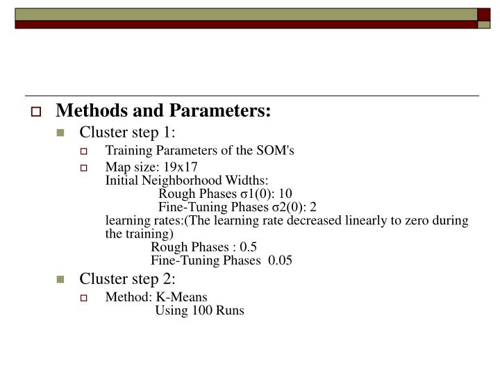 Methods and Parameters: