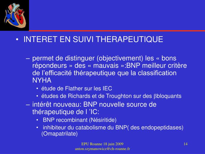 INTERET EN SUIVI THERAPEUTIQUE