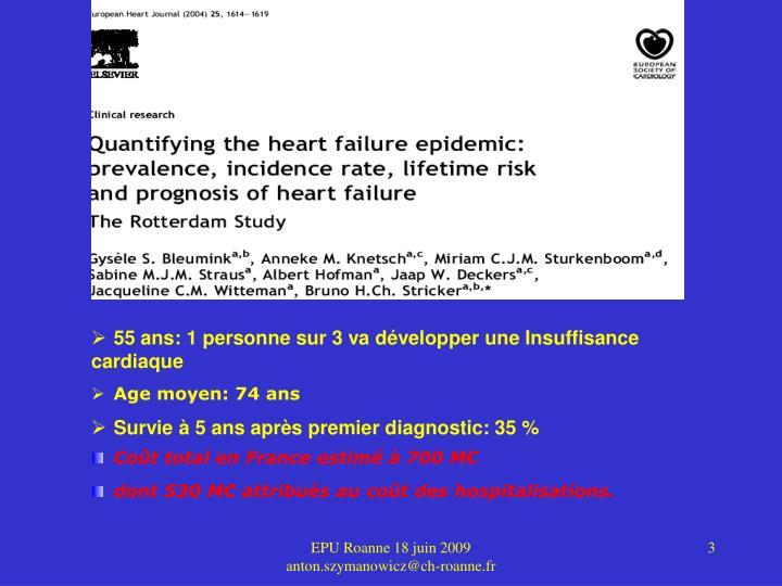 55 ans: 1 personne sur 3 va développer une Insuffisance cardiaque