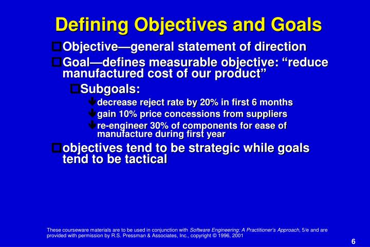 Defining Objectives and Goals
