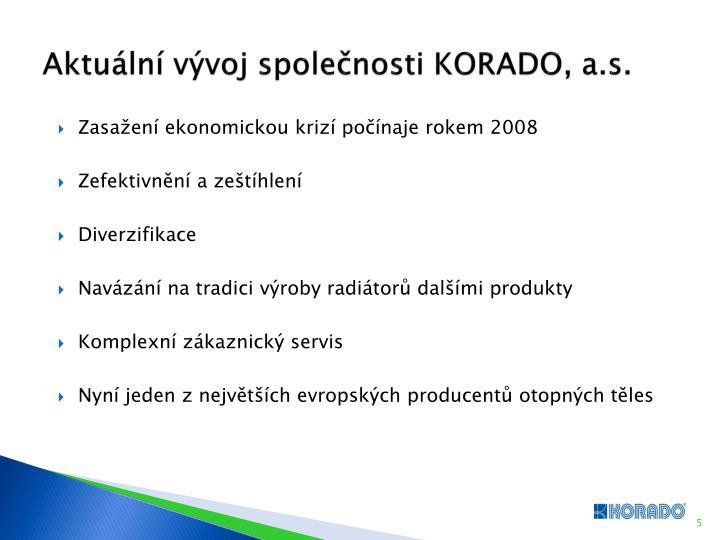 Aktuální vývoj společnosti KORADO, a.s.