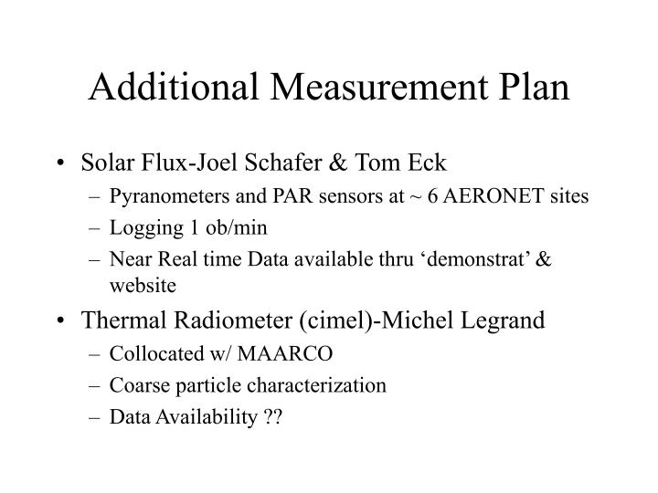 Additional Measurement Plan