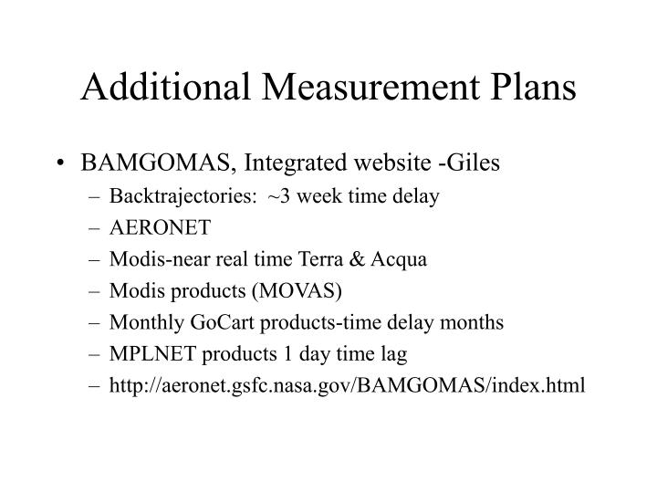 Additional Measurement Plans