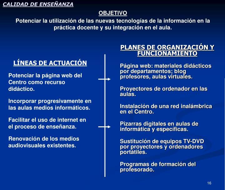 PLANES DE ORGANIZACIÓN Y FUNCIONAMIENTO