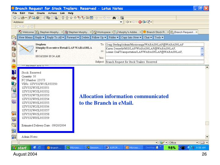 Allocation information communicated to the Branch in eMail.
