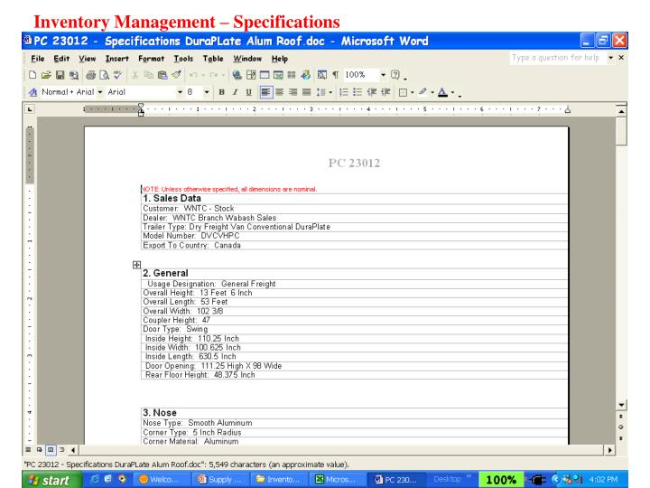 Inventory Management – Specifications