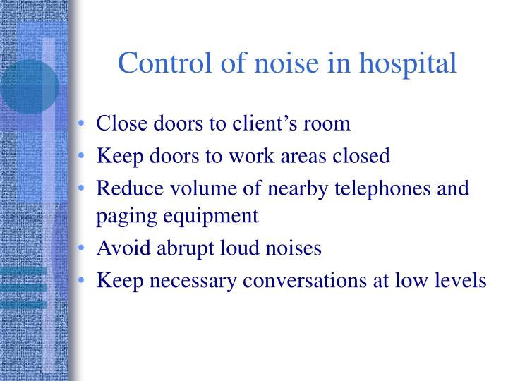 Control of noise in hospital