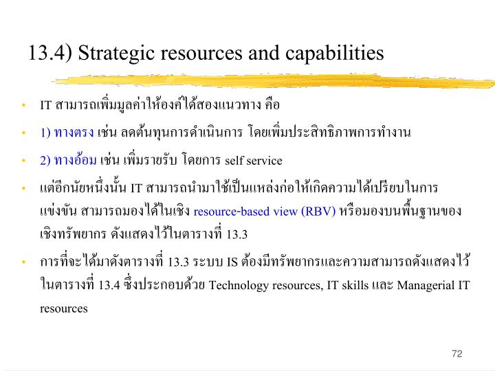 13.4) Strategic resources and capabilities
