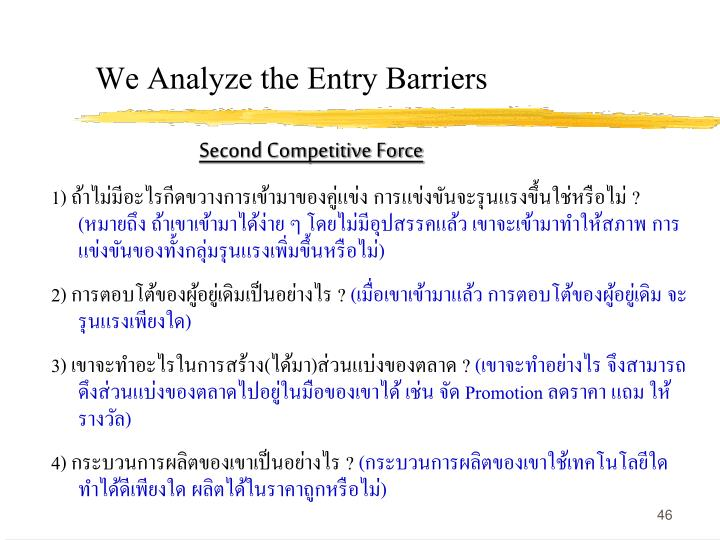 We Analyze the Entry Barriers