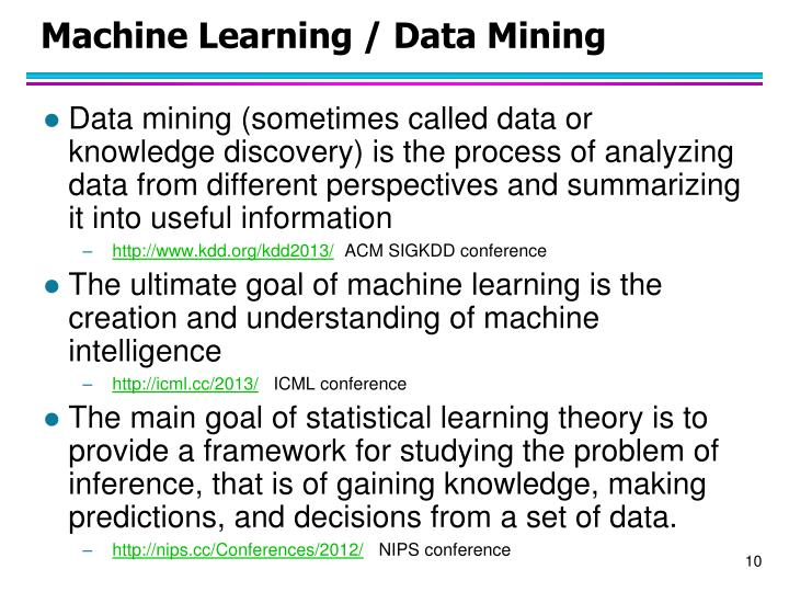 Machine Learning / Data Mining